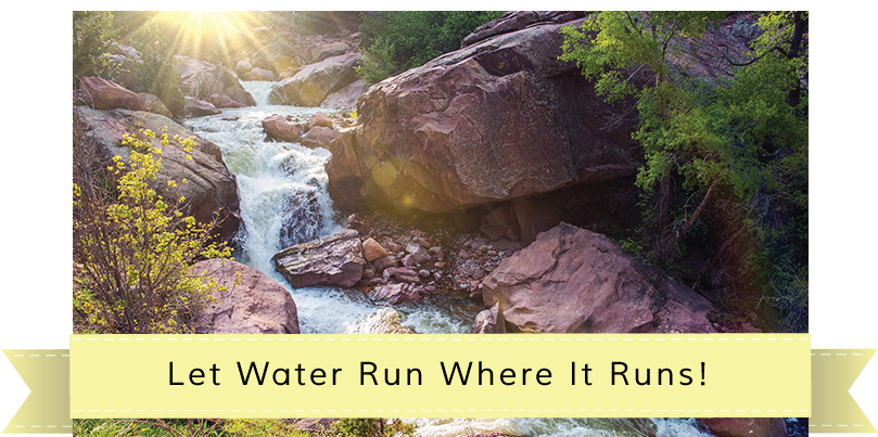 river with a small waterfall, Let Water Run Where It Runs! story banner